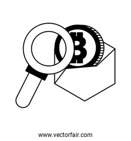 Magnifying glass looking bitcoin in black and white