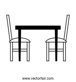Table and chairs in black and white