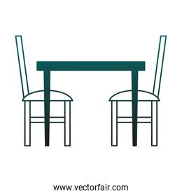 Table and chairs in blue lines