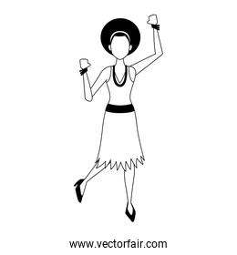 Disco woman cartoon in black and white