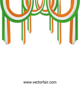 India flags frame over white