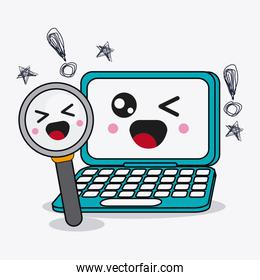 Laptop and lupe icon. Kawaii and technology design. Vector graph