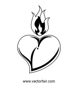 Heart with flamme tattoo in black and white