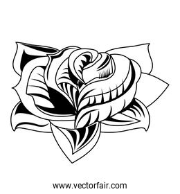Flower tattoo drawing in black and white