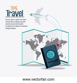 Trip icon set. Time to travel design. Vector graphic