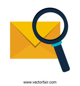 Mail with magnifying glass