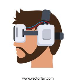 Head with Virtual Reality glasses