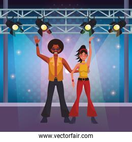People dancing disco cartoons