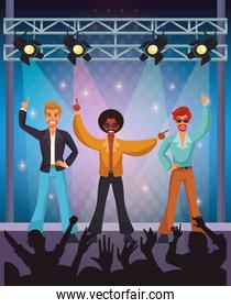 Disco artist at stage cartoons
