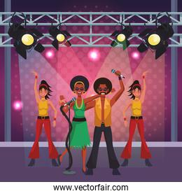 People and disco cartoons