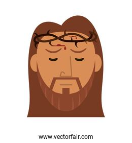 Jesus Christ face with thorns crown