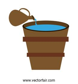 Jar and bucket with water