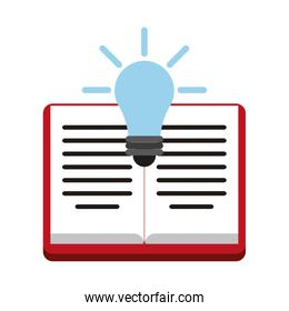 Book open with bulb light