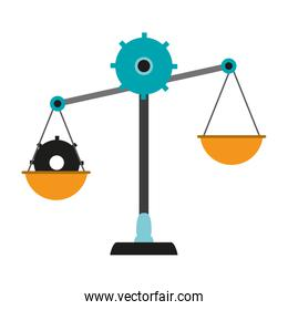 isolated justice balance with gears