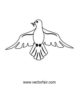 Dove cartoon symbol in black and white