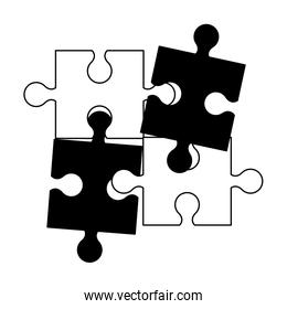 Jigsaw pieces isolated in black and white