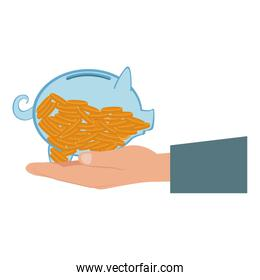 hand and transparent piggy with coins