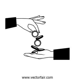 Hands giving coins in black and white