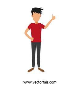 Young man faceless cartoon