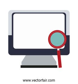 Computer with magnifying glass