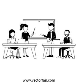 Business meeting at office in black and white