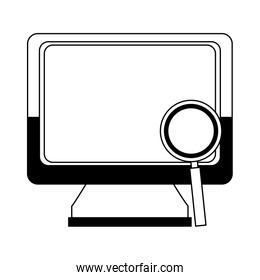 Computer with magnifying in black and white