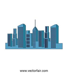 City buildings of blue color isolated icon