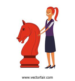 Woman with chess piece pop colors