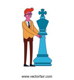 Businessman with chess piece isolated icon