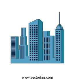 City buildings isolated pop colors