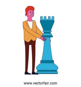 Businessman with chess piece pop colors