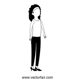Executive business woman cartoon faceless black and white colors