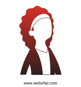 Executive business woman cartoon faceless red lines