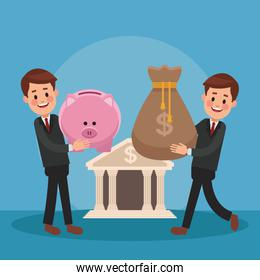 Businessmens and money cartoons icon vector ilustration