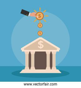 Hand with money icon vector ilustration