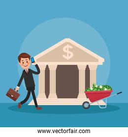 Businessman and money cartoons icon vector ilustration