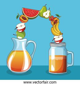 Natural and organic fruits and icon vector ilustration