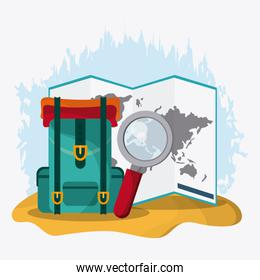 Baggage and implements icon. Time to travel design. Vector graph