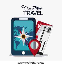 Trip implements. Time to travel design. Vector graphic