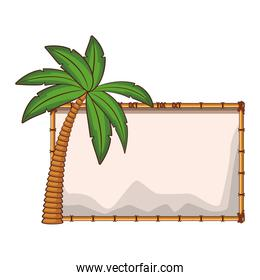 Blank wooden sign with palm