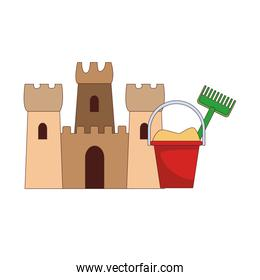 Sand castle and bucket
