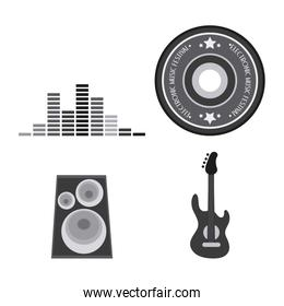 Icon set. Electro Party and Music design. Vector graphic