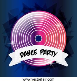 Vinyl icon. Electro Party design. Vector graphic