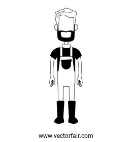 Farmer man cartoon faceless in black and white