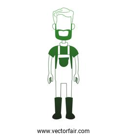 Farmer man cartoon in green white