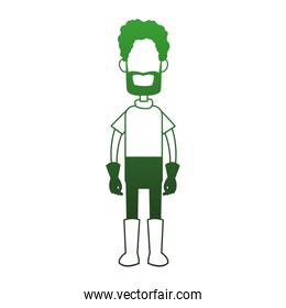 Farmer man cartoon faceless in green white