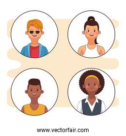 Young people round icons