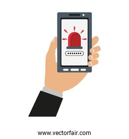 Hand holding smartphone with security system