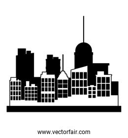 City building scenery in black and white