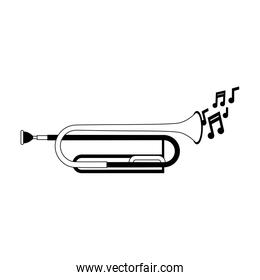 Trumpet music instrument in black and white